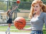 Schoolyard shenanigans! Bella Thorne shows off free throw and dribbling abilities in silly schoolgirl outfit
