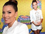 Eva Longoria risks all-white outfit being covered in green slime and shows off her legs at Nickelodeon Kids Choice Awards