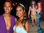All they need is a magic carpet! Birthday girl Rochelle Humes wows as Jasmine to Marvin's Aladdin while Una and Ben Foden dress as Ariel and nearly-nude Tarzan