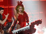 'The best bday ever!' Lady Gaga brandishes rose-adorned keytar for birthday concert at Roseland Ballroom