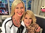 Blonde ambition: Olivia Newton-John sat on Joan Rivers' lap on the set of E!'s Fashion Police in Los Angeles today