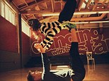 Look out below! Amy Purdy and Derek Hough show off daring 'acroyoga' moves at DWTS rehearsal