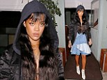 Brunette beauty: Rihanna appeared to have given her stylist the night off on Saturday evening as she stepped out for dinner at Giorgio Baldi in Santa Monica in an unusual ensemble
