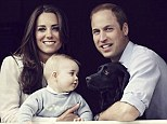 Family portrait: In the shot, taken by award-winning photographer Jason Bell at a window of the Cambridges' home, Apartment 1A of Kensington Palace, Kate looks radiant in the fresh sunshine of spring, William looks more mature and George looks devoted to the cocker spaniel, Lupo