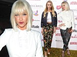 Floral fancy: Lauren Pope and Sarah Harding hide their pins in flower-print trousers and white tops at Attitude party