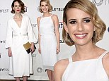 Nice in white! Emma Roberts and Sarah Paulson brighten up American Horror Story presentation at PaleyFest in angelic ensembles