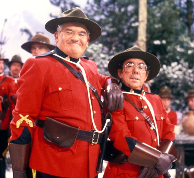 The Two Ronnies: Ronnie Barker, who died October 2005, (left) and Ronnie Corbett, singing The Mounties' Song
