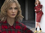 Mad for plaid! Supermodel Karlie Kloss strikes a pose in red tartan outfit for a Vogue photo shoot