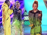 Were you not ready? Kaley Cuoco got slimed on stage of the Kids' Choice Awards at the USC Galen Centre in Los Angeles on Saturday