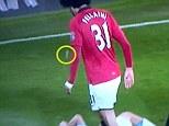 Footage: Video has emerged that appears to show Marouane Fellaini spit towards Pablo Zabaleta
