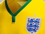 Smart design: The England badge up close on the yellow kit