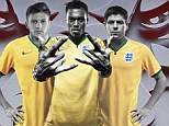 Radical: Adam Lallana, Daniel Sturridge and Steven Gerrard model the kit