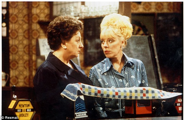 Familiar face? Lynch (played by Julie Goodyear, right) was known for her extravagant jewelry in the soap