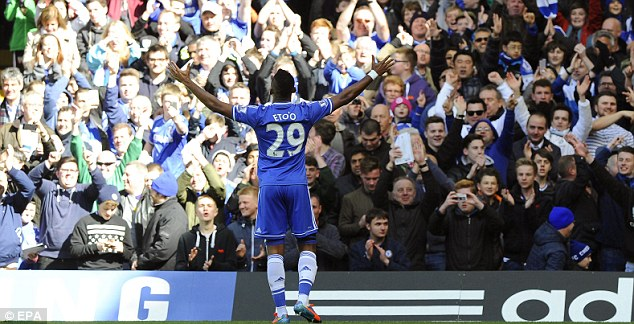 True Blue: Eto'o has impressed the Chelsea fans since his move from Russia