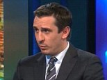 On the box: Gary Neville on Sky Sports during their coverage of Sunderland against West Ham