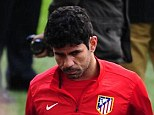 Early exit: Diego Costa lasted just 10 minutes of Atletico's training session ahead of their clash with Barcelona
