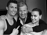 Striking a pose: Cristiano Ronaldo with photographer Mario Testino and girlfriend Irina Shayk