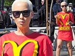 Amber Rose is the latest star sporting McDonald's inspired collection... but skips fast food and wears it to an organic cafe