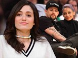 Laker girl: Emmy Rossum sat front-row on Tuesday night as the Los Angeles Lakers hosted the Portland Trail Blazers at the Staples Center