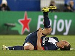 Showing the strain: Zlatan Ibrahimovic winces on the turf after suffering a suspected hamstring injury
