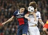 Head to head: Cavani and David Luiz whole-heartedly battle for a high ball