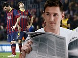 Lionel Messi reading a paper