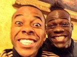 All smiles: AC Milan stars Robinho (left) and Mario Balotelli seem pleased with their weekend