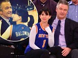 His number one girl! Alec Baldwin's wife Hilaria dons personalised jersey as she cuddles up to him at Knicks game