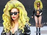 It must be Wednesday! Lady Gaga takes to the streets in bra, underwear, fishnets and enormous platforms