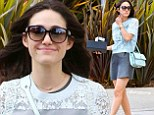 Ready for her close-up! Shameless star Emmy Rossum dresses up in lacy blue top and grey mini-skirt to buy a new camera