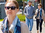 Early morning hustle! Amy Adams and tired looking husband Darren Le Gallo take a relaxed stroll in Hollywood