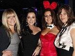 Still got it: Jo Wood, Nancy Dell'Olio and Tracey Emin rolled back the years while posing for a picture alongside a Playboy Bunny on Wednesday night