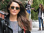 Keri Russell walks home after she picks up her son River from school