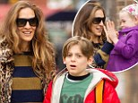 Sarah Jessica Parker dons leopard-print jacket to escort children Marion and James to school