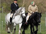 HM The Queen accompanied by her Head Groom Terry Pendry