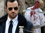 Gore blimey! Hunky Justin Theroux discovers a 'body' covered in blood as he films The Leftovers in the woods