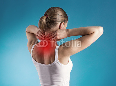 Tired female massaging her neck. Healthy lifestyle.