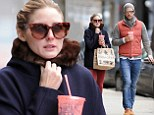 Fashionable fiancés: Olivia Palermo and her fiancé Johannes Huebl looked like they had just walked out of an ad for winter wear in New York on Saturday