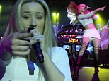 She's fancy! Iggy Azalea brings down the house while performing in form-fitting crop top and thigh high strappy leather boots
