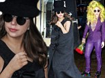 That makes a change! Lady Gaga covers up in sleeveless coat and purple leather, after stepping out in string of revealing outfits