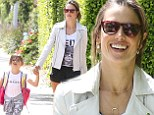April 04, 2014\n \n Model Alessandra Ambrosio is all smiles while picking up her daughter Anja from school in Santa Monica, California. Alessandra looked cute and casual in a white biker jacket, printed shirt, black short shorts, and black slip on shoes.\n \n Non Exclusive\n UK RIGHTS ONLY\n \n Pictures by : FameFlynet UK © 2014\n Tel : +44 (0)20 3551 5049\n Email : info@fameflynet.uk.com  Picture Shows: Anja Mazur, Alessandra Ambrosio