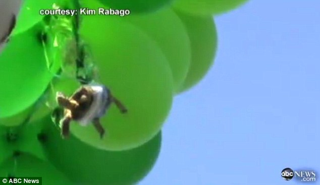 Cruelty: Residents of the Oceanside, California, neighbourhood were horrified to see the poor turtle dangling helplessly from the balloons