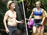 Fabulous at 50! Felicity Huffman, 51, showed off a toned midriff and limbs after diving into a lake in a blue sports bra and a black athletic skirt while on vacation in Hawaii