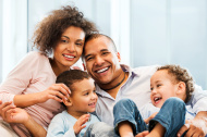 Loving African-American family at home