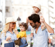 Young family enjoying shopping