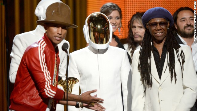 <strong>Record of the year:</strong> &quot;Get Lucky&quot; by Daft Punk featuring Pharrell Williams and Nile Rodgers. The song also won best pop duo/group performance.