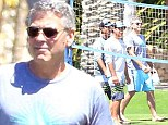 Game for fun: George Clooney showed that he keeps active even while on holiday, as he enjoyed a game of volleyball in Cabo, Mexico