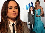 Ellen Page wears a sharp suit and tie as she credits transgender actress Laverne Cox for giving her the courage to come out as a lesbian at GLAAD Awards