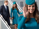 Rebellious: Kate wears a bright shade of green again as she arrives in Dunedin with husband William - despite him voicing his dislike for the colour