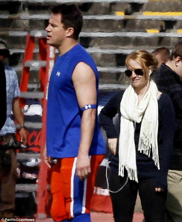 Eyes on the prize: A woman with headphones checked out Channing as he walked by